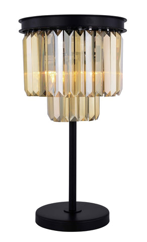 ZC121-1231TL14MB-GT/RC - Urban Classic: Sydney 3 light Matte Black Table Lamp Golden Teak (Smoky) Royal Cut Crystal