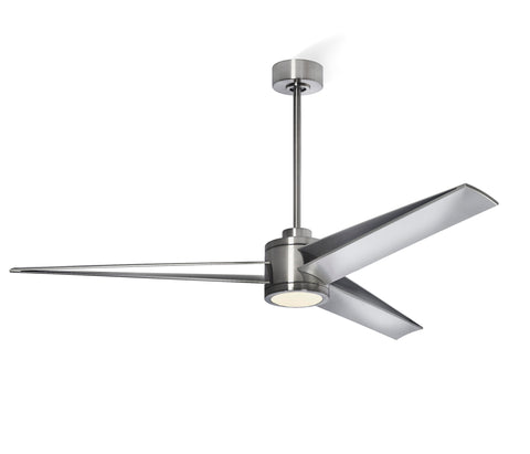 Apollo 60 inch Brushed Steel Ceiling Fan - Integrated with LED Light Kit - Indoor/Outdoor Ceiling Fan - G7-CS/4724/60