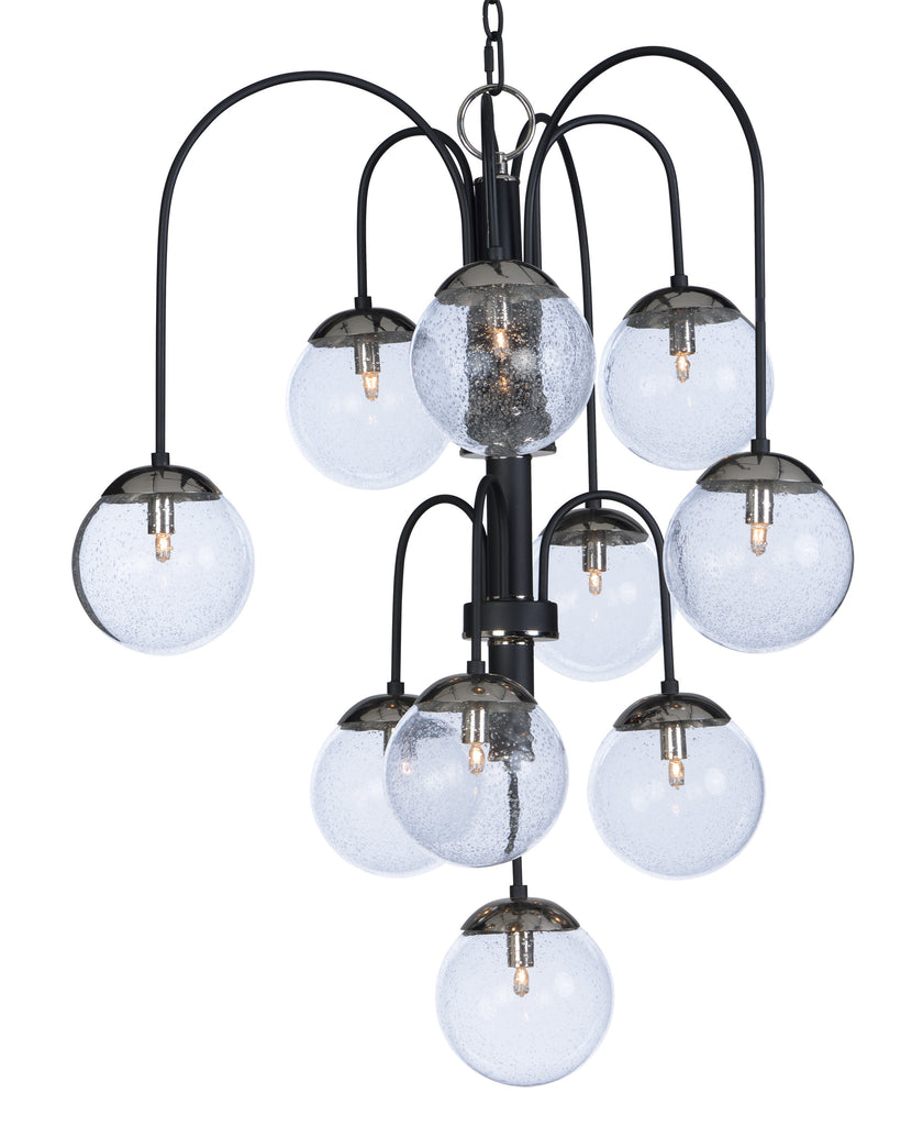 Reverb 10-Light Pendant w/Xenon Bulbs Textured Black / Polished Nickel - C157-20469BGTXBPN/BUX