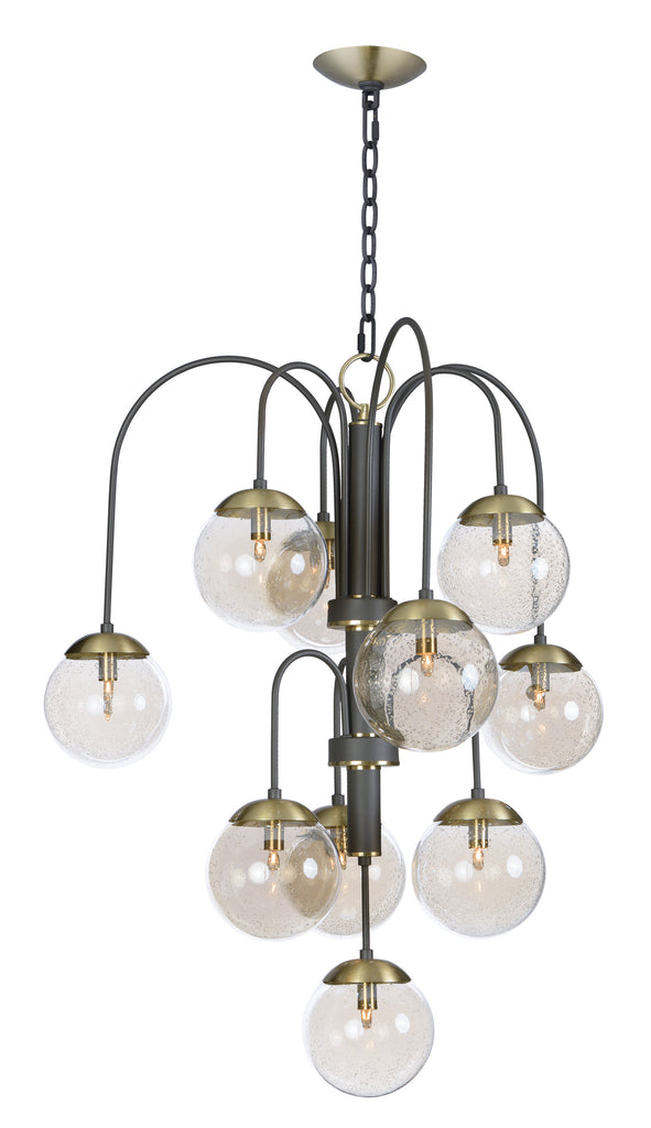 Reverb 10-Light Pendant w/LED Bulbs Textured Bronze / Satin Brass - C157-20469TBGTBZSBR/BUL