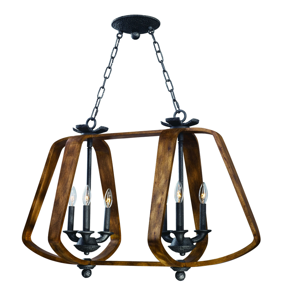 Road House 6-Light Chandelier Barn Wood/Iron Ore - C157-20927BWIO