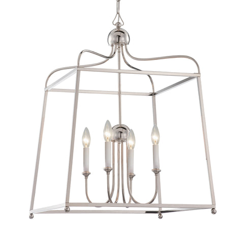 4 Light Polished Nickel Modern Chandelier - C193-2244-PN_NOSHADE