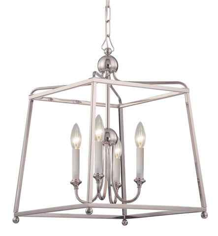 4 Light Polished Nickel Modern Chandelier - C193-2245-PN_NOSHADE