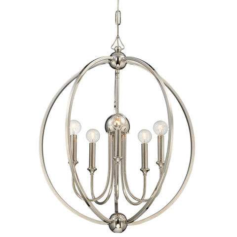 5 Light Polished Nickel Modern Chandelier - C193-2247-PN_NOSHADE