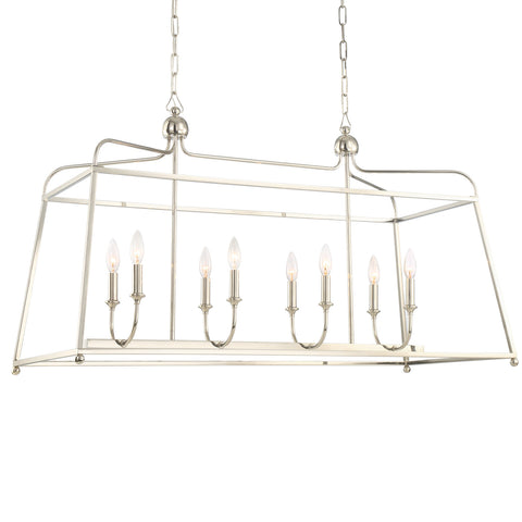 8 Light Polished Nickel Modern Chandelier - C193-2249-PN_NOSHADE