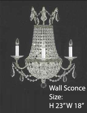 "Swarovski Crystal Trimmed Wall Sconce Empire Crystal Wall Sconce Lighting W18"" H23"" D10"" - A81-1/8/Silver/Wallsconce/Sw"