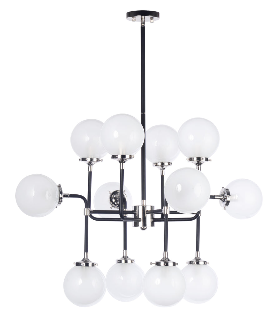 Atom 12-Light Pendant Lamp Black and Polished Nickel - C157-24727WTBKPN