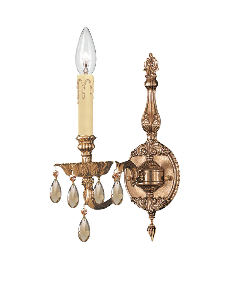 1 Light Olde Brass Traditional Sconce Draped In Golden Teak Hand Cut Crystal - C193-2501-OB-GT-MWP