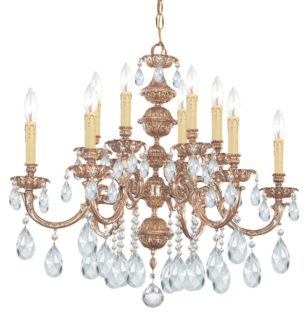 12 Light Olde Brass Crystal Chandelier Draped In Clear Swarovski Strass Crystal - C193-2512-OB-CL-S