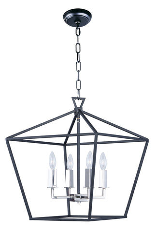 Abode 4-Light Chandelier Textured Black / Polished Nickel - C157-25156TXBPN