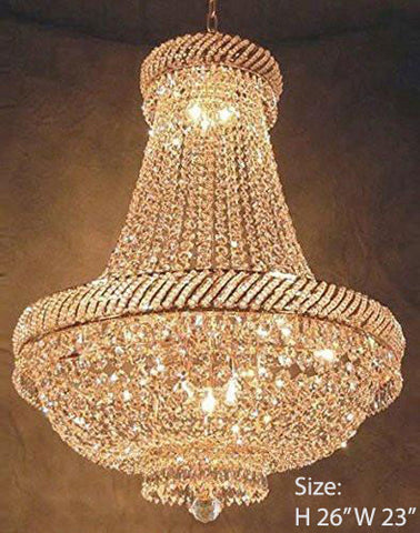 "Swarovski Crystal Trimmed Chandelier French Empire Crystal Chandelier Lighting H26"" X W23"" - F93-Cg/448/9Sw"