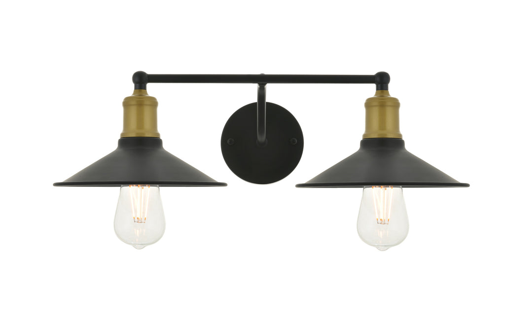 ZC121-LD4033W21BRB - Living District: Etude  2 light brass and black Wall Sconce