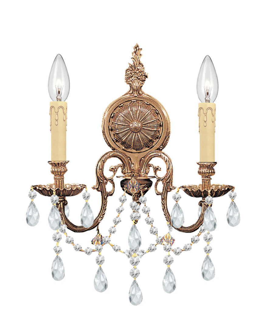 2 Light Olde Brass Traditional Sconce Draped In Clear Swarovski Strass Crystal - C193-2702-OB-CL-S