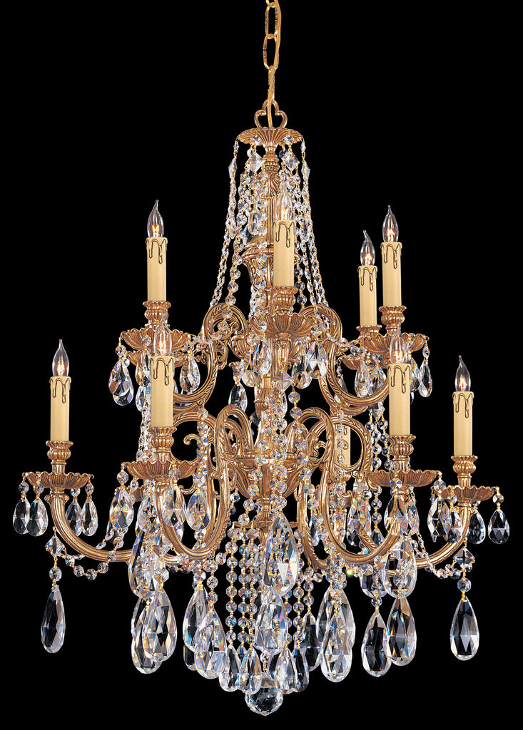 12 Light Olde Brass Crystal Chandelier Draped In Clear Spectra Crystal - C193-2712-OB-CL-SAQ