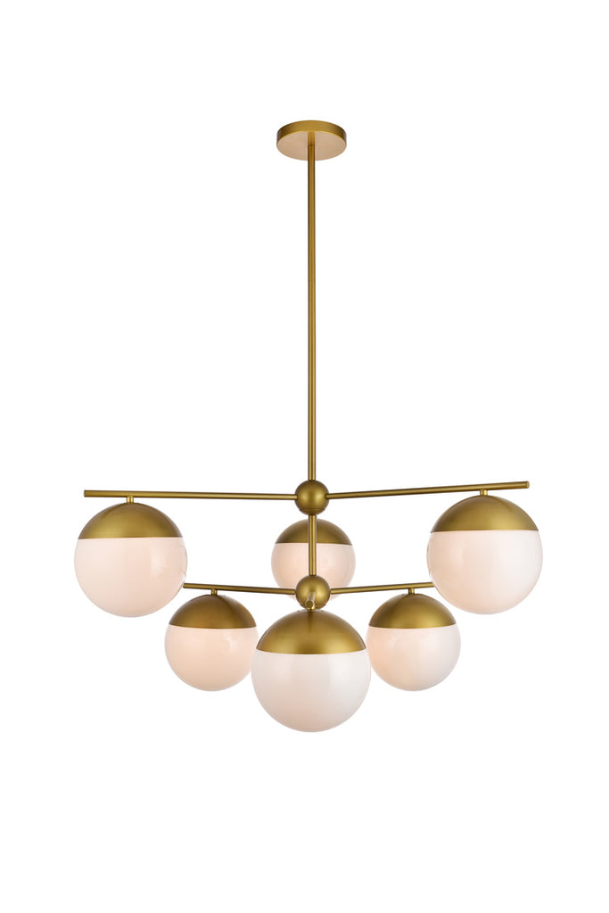 ZC121-LD6144BR - Living District: Eclipse 6 Lights Brass Pendant With Frosted White Glass