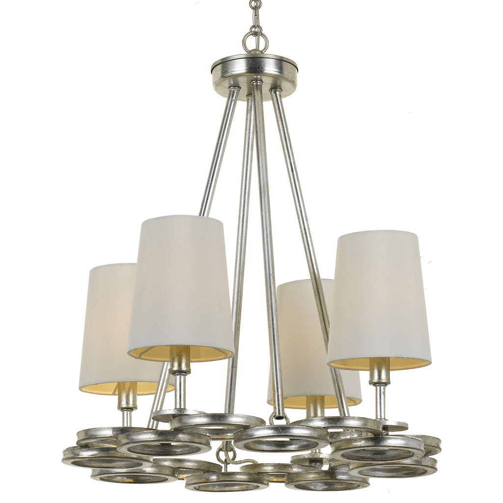 4 Light Antique Silver Modern Chandelier - C193-284-SA