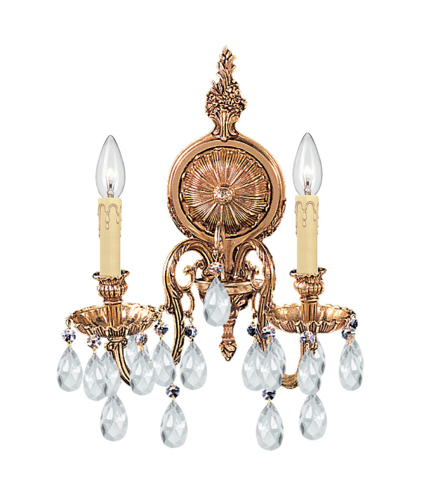 2 Light Olde Brass Traditional Sconce Draped In Clear Spectra Crystal - C193-2902-OB-CL-SAQ
