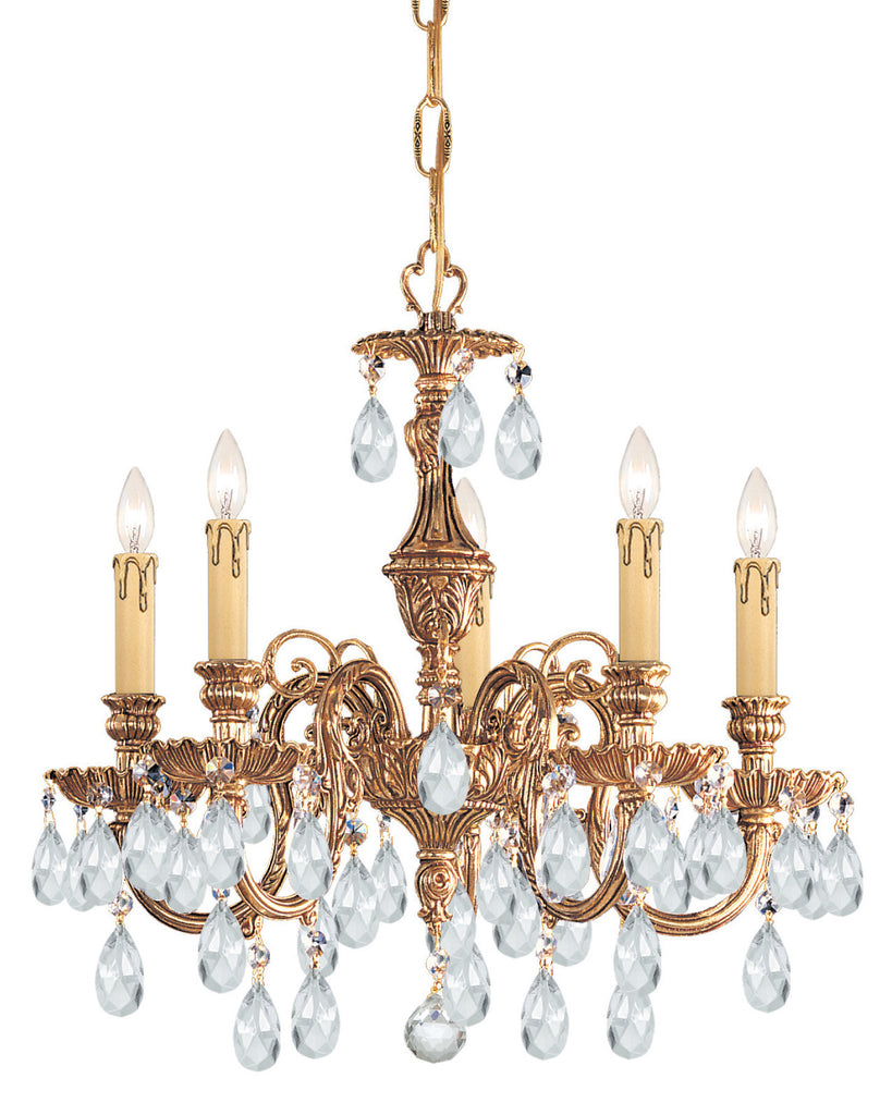 5 Light Olde Brass Crystal Mini Chandelier Draped In Clear Spectra Crystal - C193-2905-OB-CL-SAQ