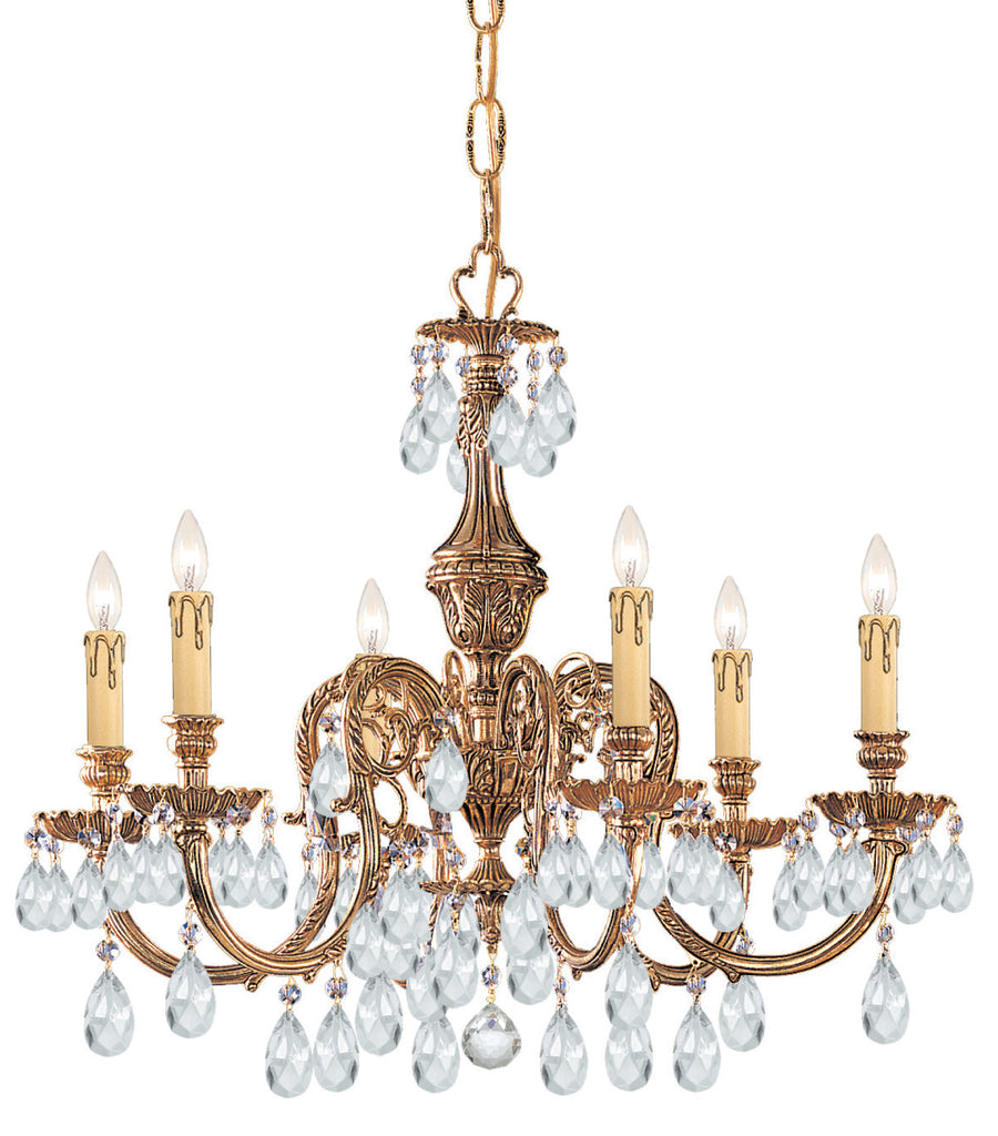 6 Light Olde Brass Crystal Chandelier Draped In Clear Spectra Crystal - C193-2906-OB-CL-SAQ