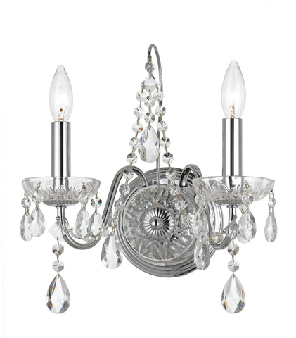 2 Light Polished Chrome Traditional  Modern Sconce Draped In Clear Hand Cut Crystal - C193-3022-CH