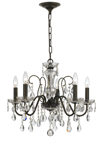 5 Light English Bronze Traditional  Modern Chandelier Draped In Clear Hand Cut Crystal - C193-3025-EB