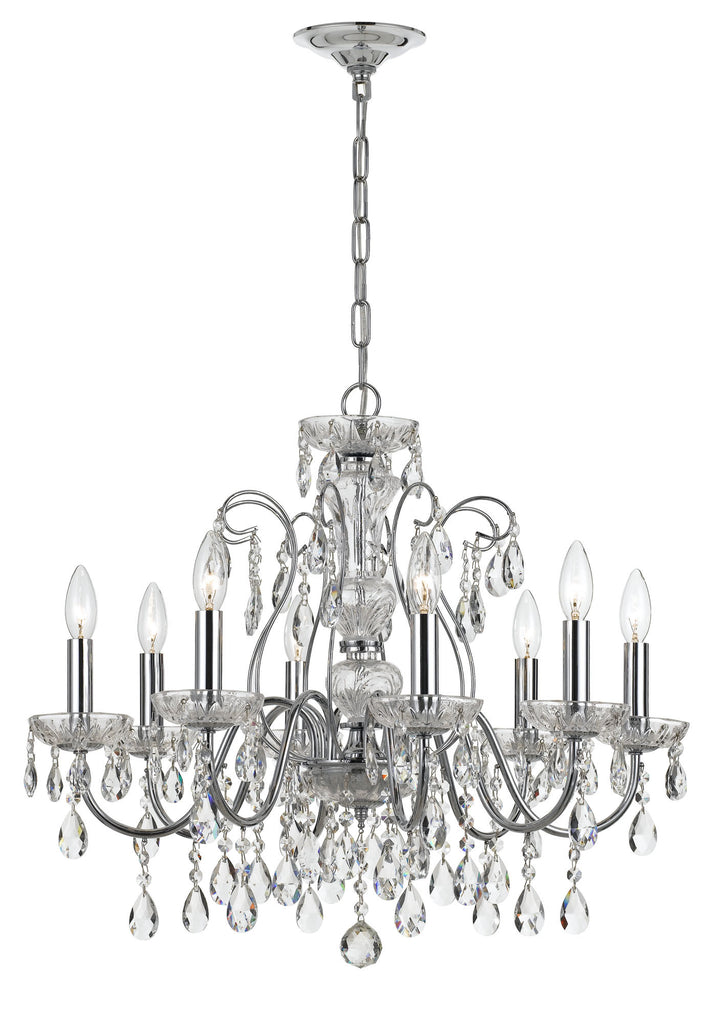 8 Light Polished Chrome Traditional  Modern Chandelier Draped In Clear Hand Cut Crystal - C193-3028-CH