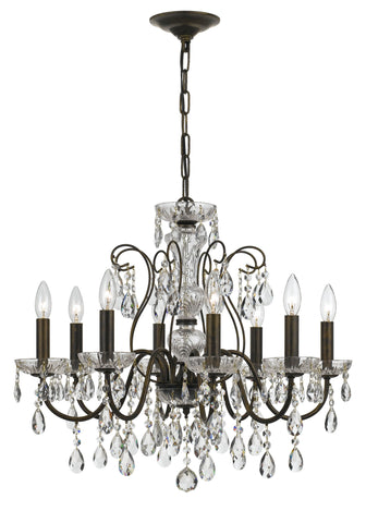8 Light English Bronze Traditional  Modern Chandelier Draped In Clear Hand Cut Crystal - C193-3028-EB