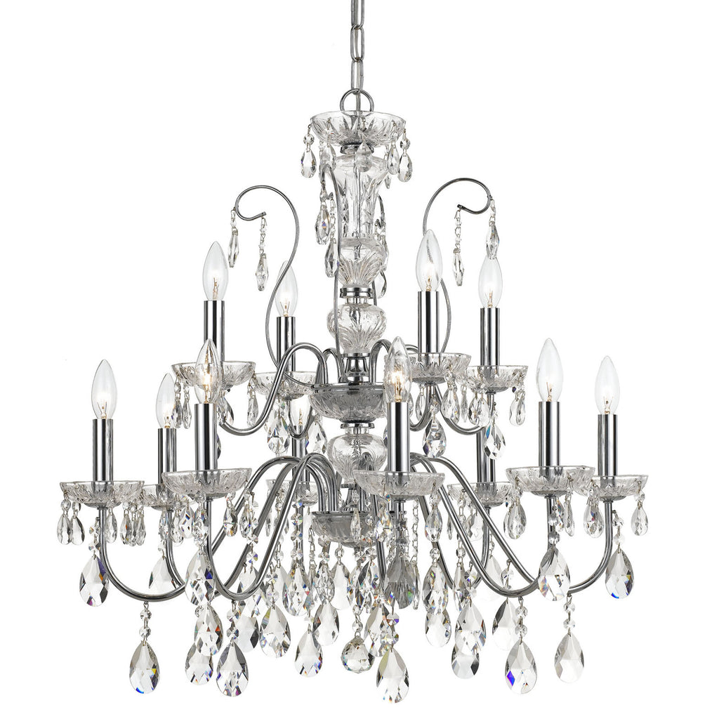 12 Light Polished Chrome Traditional Modern Chandelier Draped In Clear Hand Cut Crystal - C193-3029-CH