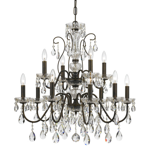 12 Light English Bronze Traditional Modern Chandelier Draped In Clear Hand Cut Crystal - C193-3029-EB