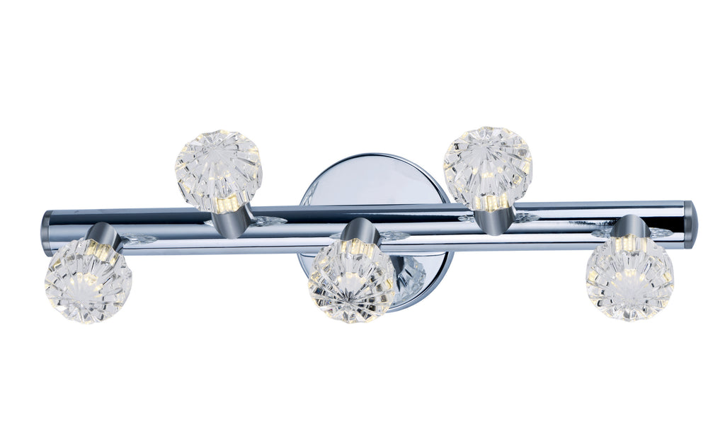Bejewel LED 5-Light Bath Vanity Polished Nickel and Satin Nickel - C157-3035BCPNSN