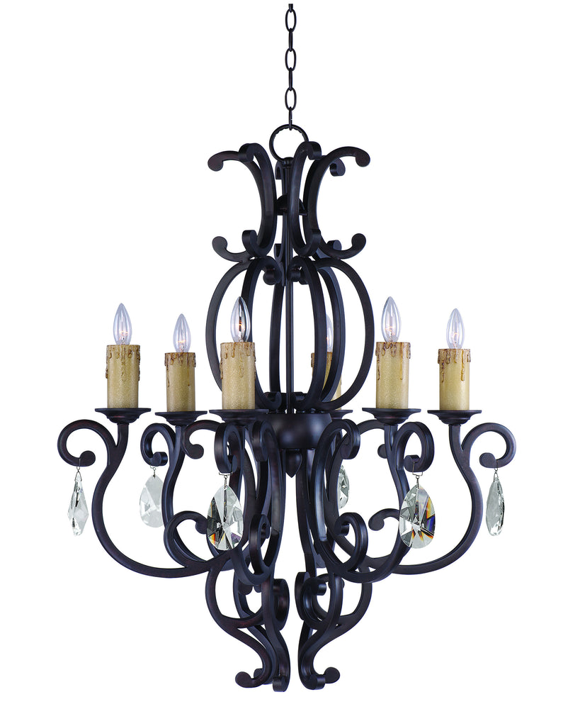 Richmond 6-Light Chandelier with Crystals Colonial Umber - C157-31005CU/CRY083