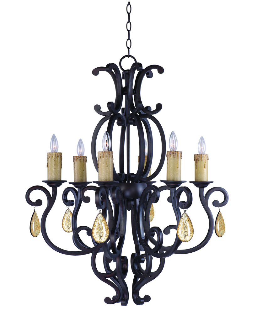 Richmond 6-Light Chandelier with Crystals Colonial Umber - C157-31005CU/CRY094