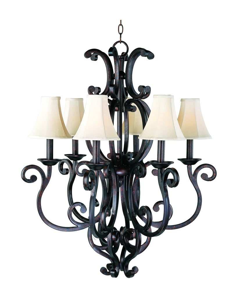 Richmond 6-Light Chandelier with Shades Colonial Umber - C157-31005CU/SHD62