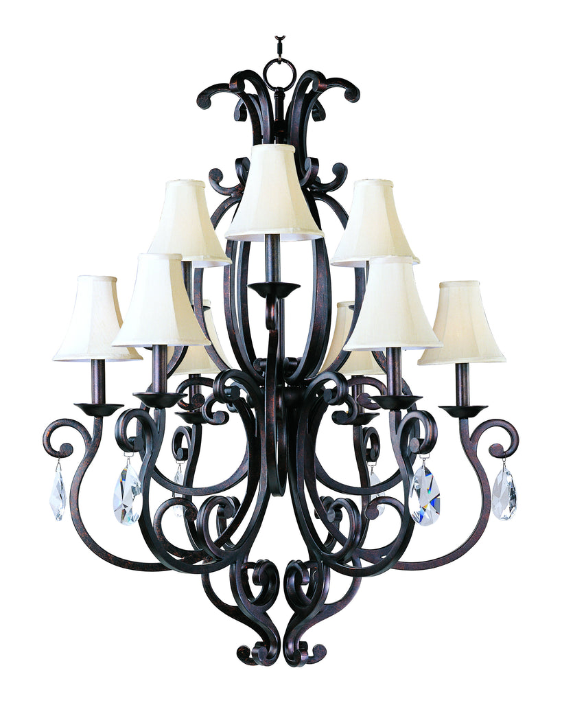 Richmond 9-Light Chandelier with Crystals & Shades Colonial Umber - C157-31006CU/CRY083/SHD62
