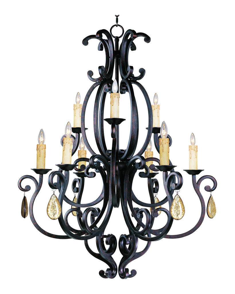 Richmond 9-Light Chandelier with Crystals Colonial Umber - C157-31006CU/CRY094