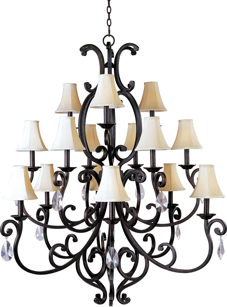 Richmond 15-Light Chandelier with Crystal & Shades Colonial Umber - C157-31007CU/CRY085/SHD62