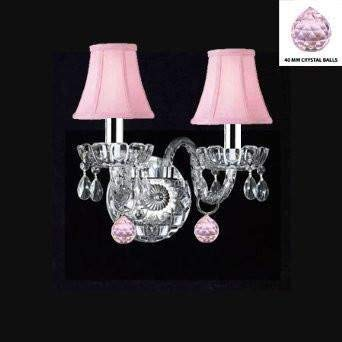 Swarovski Crystal Trimmed Wall Sconce! Murano Venetian Style Crystal Wall Sconce Lighting With Pink Balls & Pink Shades! - Perfect For Kid'S And Girls Bedroom w/Chrome Sleeves! - A46-B43/B76/PINKSHADES/2/386SW