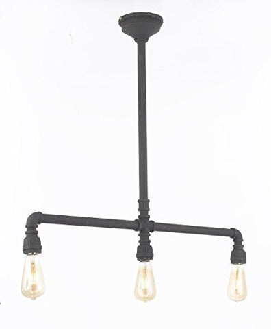 "Wrought Iron Vintage Barn Metal Pendant Chandelier Industrial Loft Rustic ""Pipe"" Lighting W/ Vintage Bulbs Included Great For Kitchen Island Lighting - G7-3527/3Bulbs"