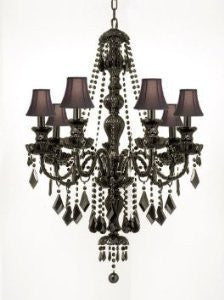 "New Jet Black Gothic Crystal Chandelier Lighting With Black ShadesH37"" X W26"" - G46-Blackshades/Sm/490/7"