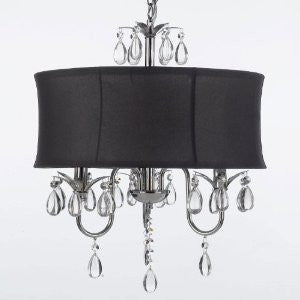 Modern Contemporary Black Drum Shade & Crystal Ceiling Chandelier Pendant Lightning Fixture. Swag Plug In-Chandelier W/ 14' Feet Of Hanging Chain And Wire! - A7-B15/Black/834/3