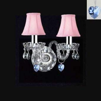 Swarovski Crystal Trimmed Wall Sconce! Murano Venetian Style Crystal Wall Sconce Lighting with Blue Hearts & Pink Shades! - Perfect for Boys and Girls Bedroom w/Chrome Sleeves! - A46-B43/B85/PINKSHADES/2/386SW