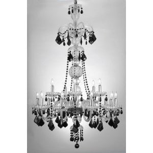 "Murano Venetian Style All-Crystal Chandelier With Black Crystal W 32"" H 48"" - F46-Clear/590/15/Color"