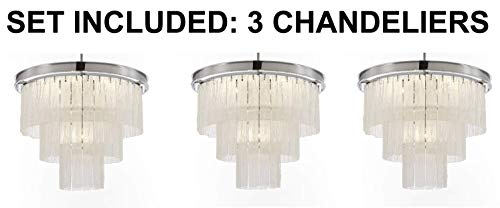 "Set of 3 - Glacier Round Frosted Glass Chandelier Lighting 3 Tier - Great for The Dining Room, Kitchen, Foyer, Entry Way, Living Room, and More! H 22"" W 20"" - 3EA G7-6002/10"