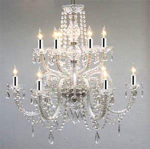 "Crystal Chandelier Lighting Dressed with Swarovski Crystal w/Chrome Sleeves! H27"" X W32"" - Good for Dining Room, Foyer, Entryway, Family Room and More! - G46-B43/385/6+6SW"