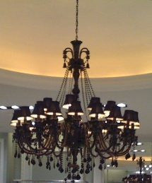 Large Foyer / Entryway Jet Black Gothic Crystal Chandelier Lighting With Black Shades - A46-Blackshades/757/30