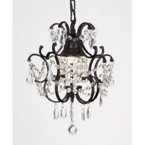 "Chandelier Wrought Iron Crystal Chandeliers H14"" W11"" Swag Plug In-Chandelier W/ 14' Feet Of Hanging Chain And Wire - A7-B16/592/1"