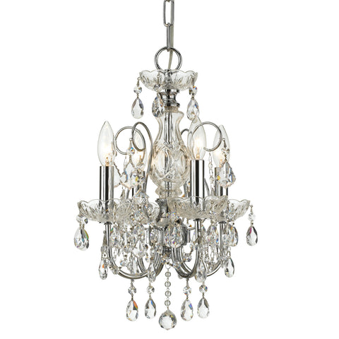 4 Light Polished Chrome Crystal Mini Chandelier Draped In Clear Hand Cut Crystal - C193-3224-CH-CL-MWP