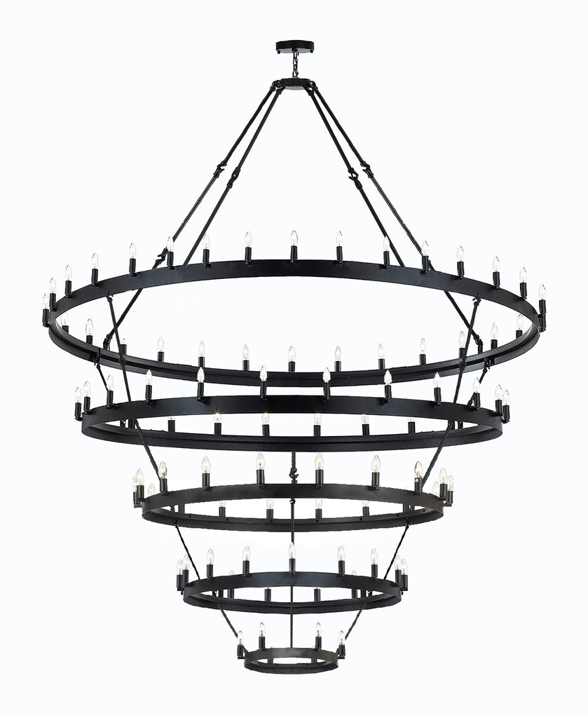 "Wrought Iron Vintage Barn Metal Camino 5 Tier Chandelier Chandeliers Industrial Loft Rustic Lighting W 63"" H 87"" - G7-3428/30+24+18+12+6"