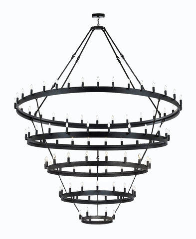 "Wrought Iron Vintage Barn Metal Castile 5 Tier Chandelier Chandeliers Industrial Loft Rustic Lighting W 63"" H 87"" - G7-3428/30+24+18+12+6"