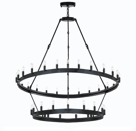 "Wrought Iron Vintage Barn Metal Camino Two Tier Chandelier Chandeliers Industrial Loft Rustic Lighting W 38"" H 50"" - G7-3429/30"